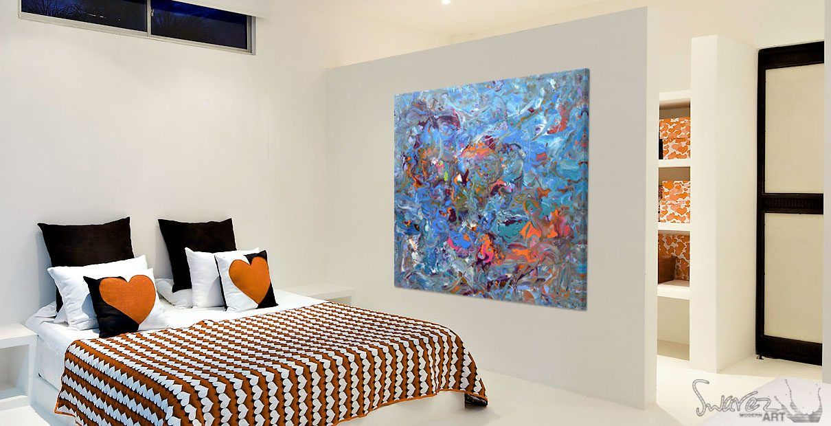 Ocean Symphony painting in a bedroom