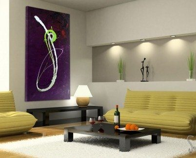 Purple and lime green painting in an apartment