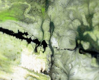 detailed view of a painting looking like bamboo growing