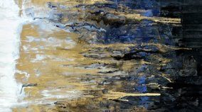 Gold and blue original painting