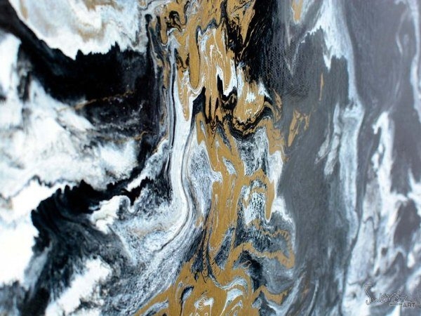Gold coloured paint on canvas