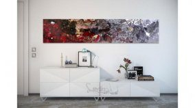 Long slim art above a console table