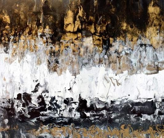 Tall large piece of black and gold art