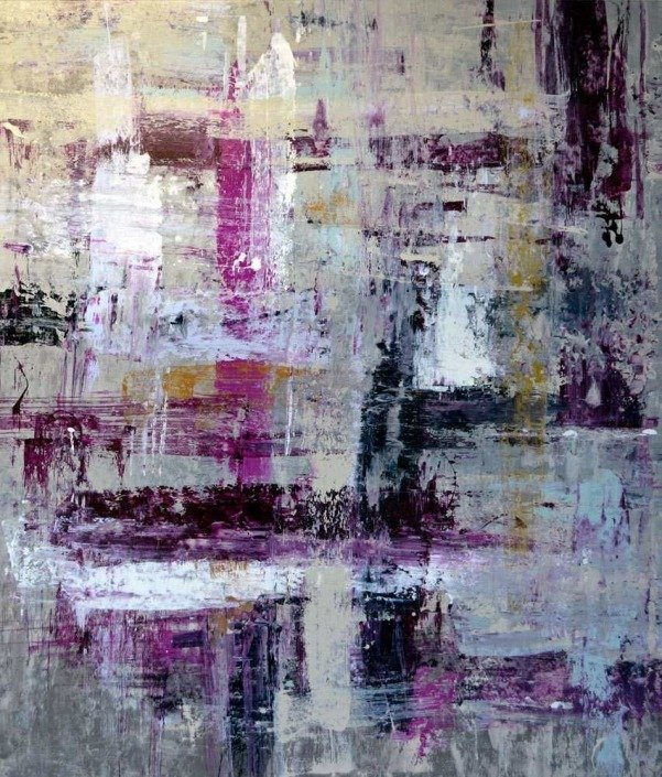 Silver and purple painting