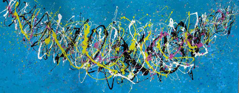 Lime green and bright blue cradle drip art