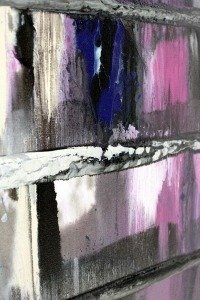 Pink paints on canvas with a hint of blue