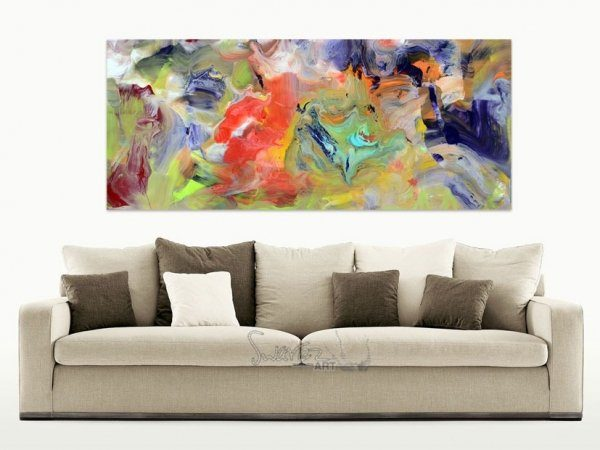 Light beige sofa and abstract art above it