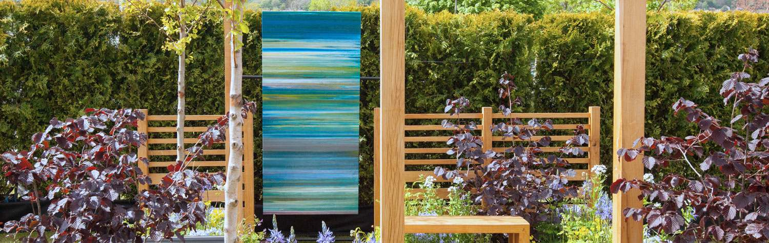 Swarez original art in a show garden at RHS Malvern