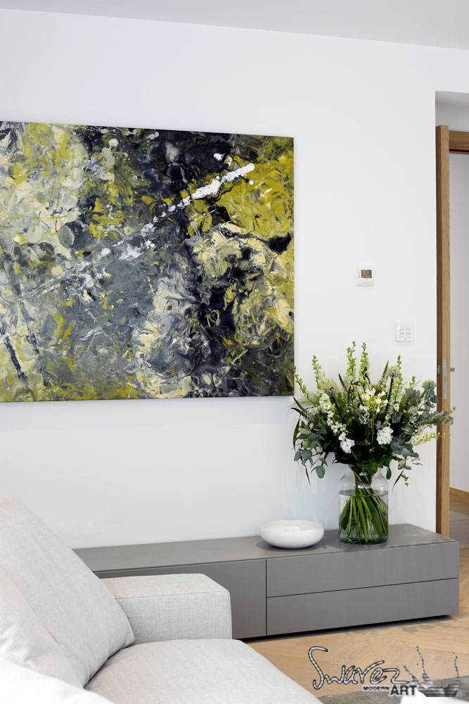 Abstract grey art and flowers