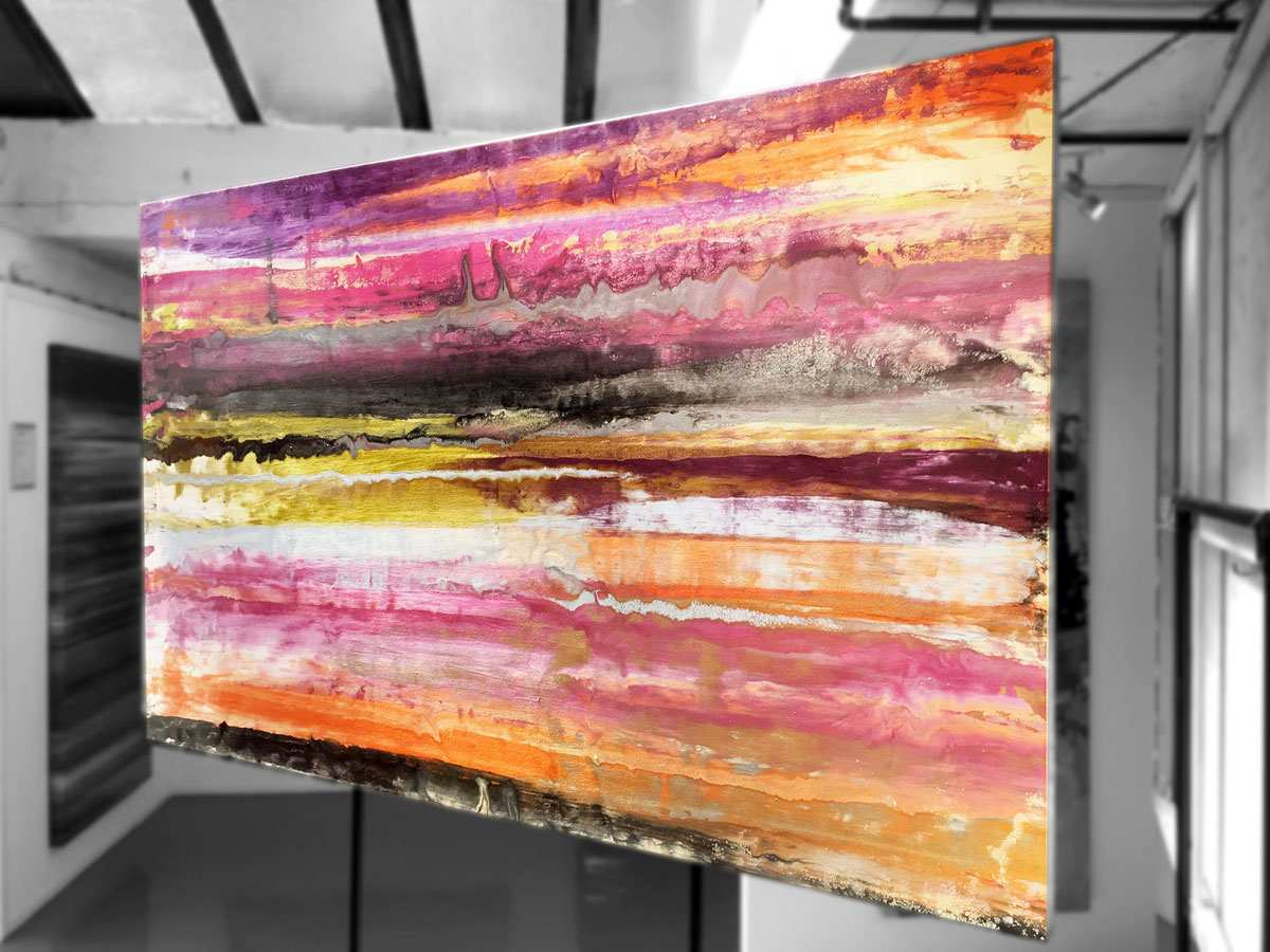 Linear lined heavy canvas art