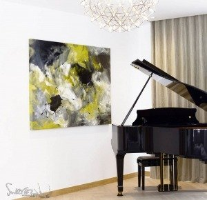 Yellow and silver art and a grand piano