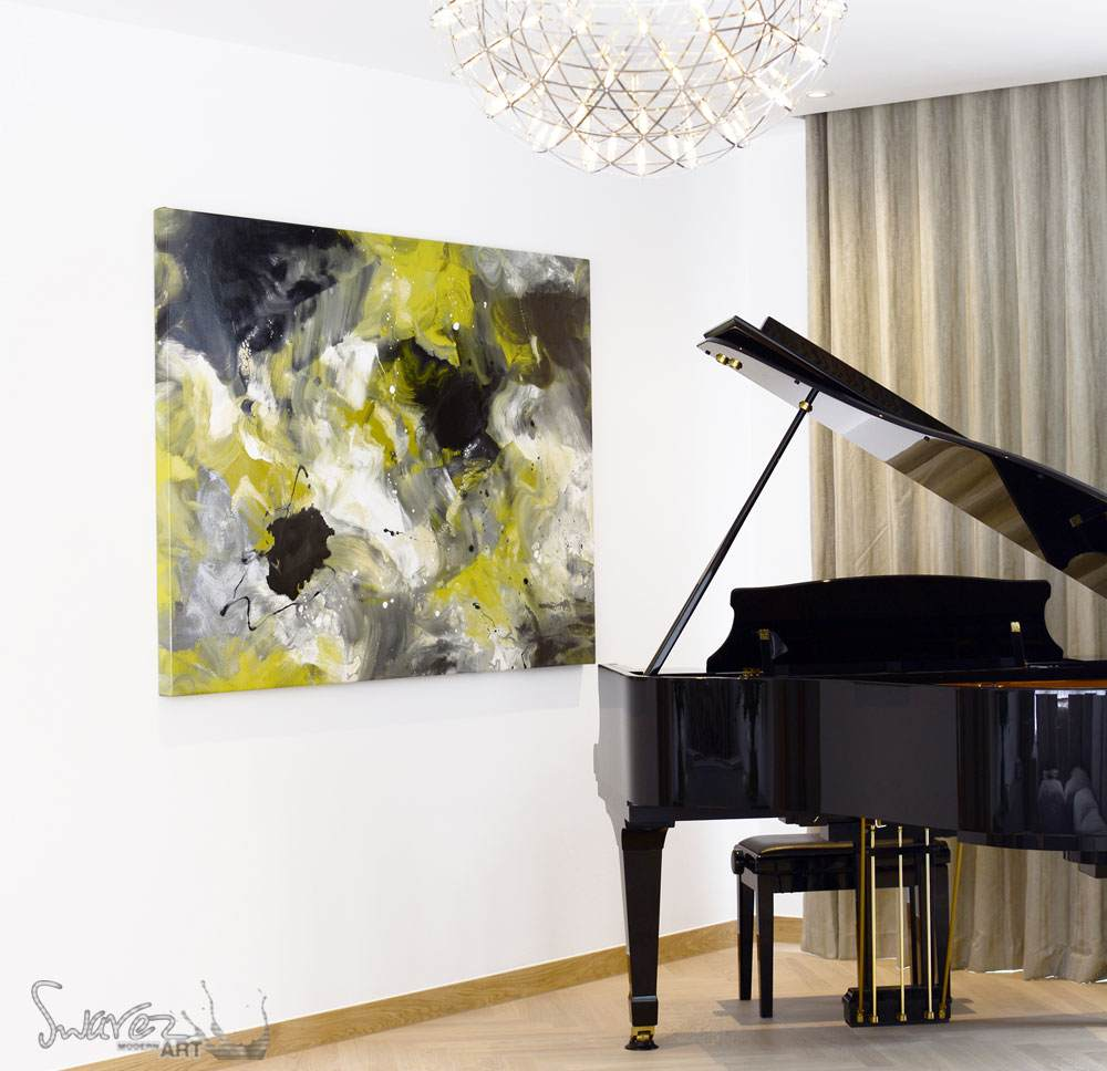 Baby Grand piano and piece of yellow and black contemporary art