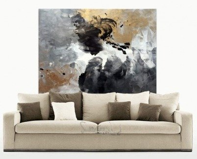 Beige sofa and large art