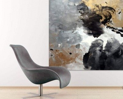 Silver, gold and black art with a chair