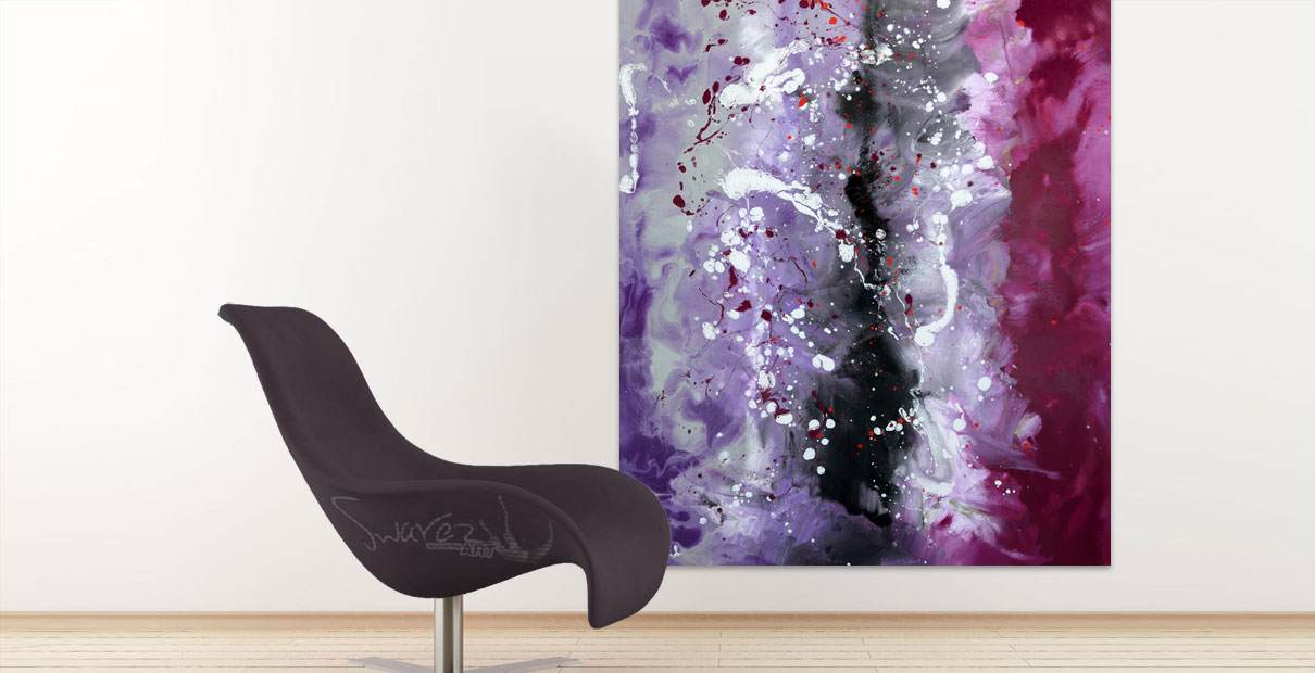 Contemporary purple and pink painting and a burgundy easy chair