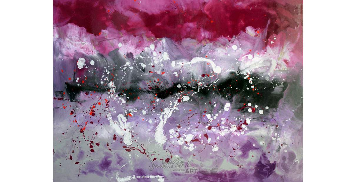Large purple and pink painting called Hold Back The River