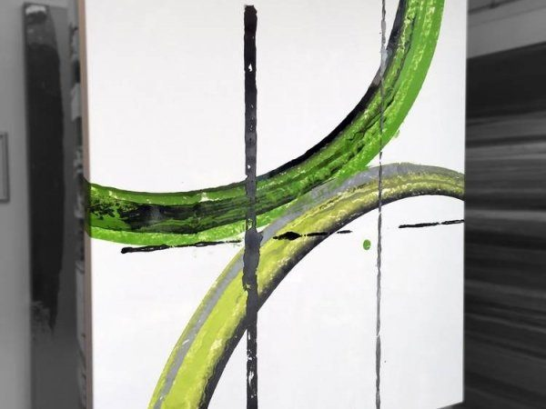 Square lime green art