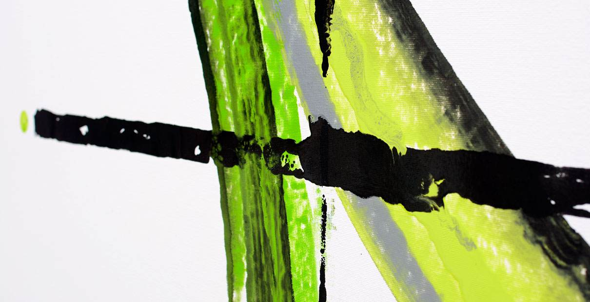 Lime green and silver painting