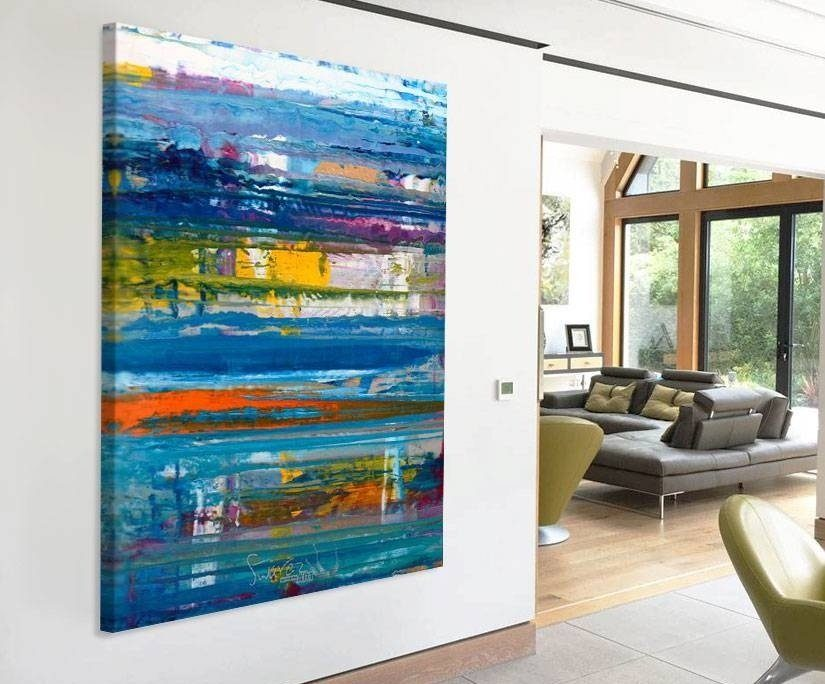 large blue abstract painting
