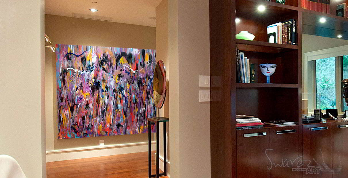 Office penthouse with large art