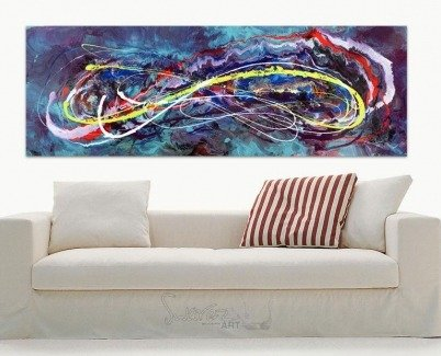 Lime green and purple painting hanging above a sofa