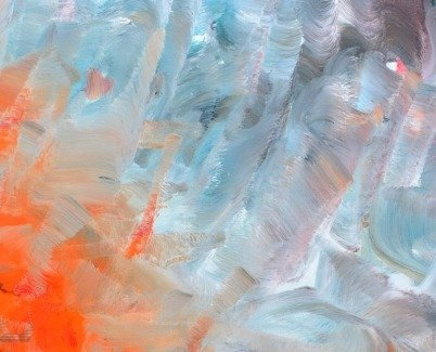 details of a painting called Red Clay Halo