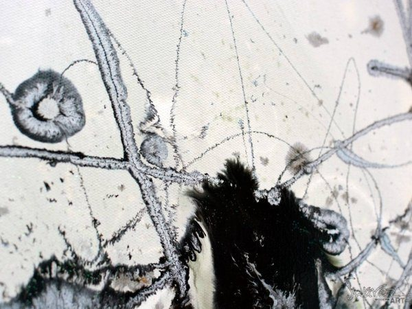 black and white art work called Fanfare One