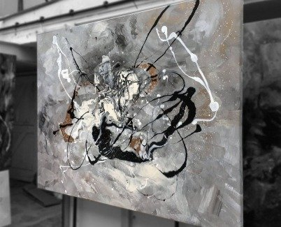 Large black and white painting called Grace Under Pressure