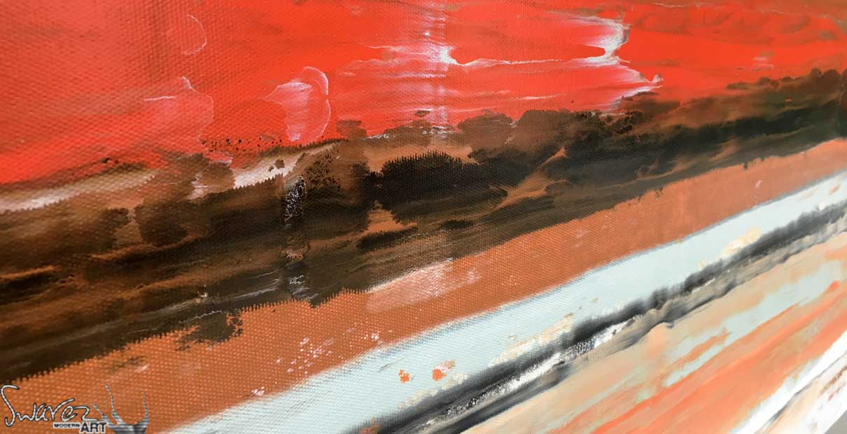 Red, black and orange lines of paint on canvas