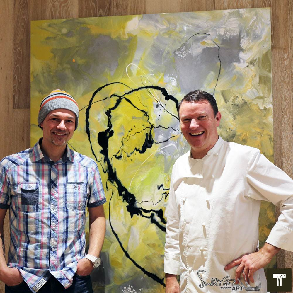 Swarez the artist and TV chef Theo Randall