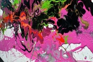 pink paint on art canvas