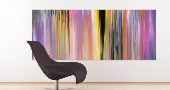 Curved chair and an orange, pink and black striped painting