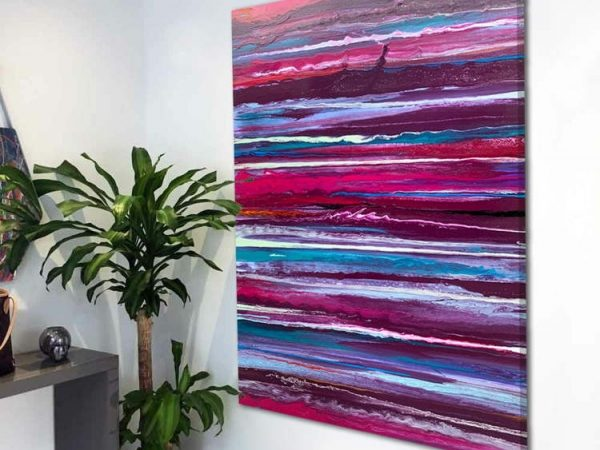 abstract pink and purple painting made up of stripes