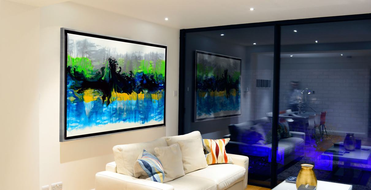 Yellow and blue art in a modern living space