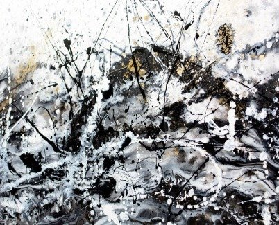 Drip paint style art in black white and gold