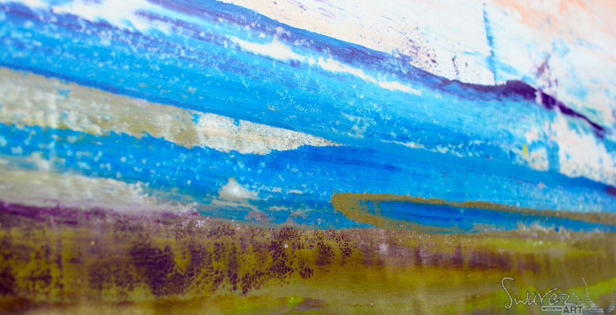 Blue dragged paint