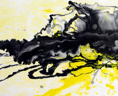 Sunny Side Up yellow and black painting
