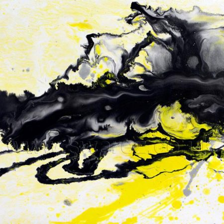 Small yellow and black abstract painting