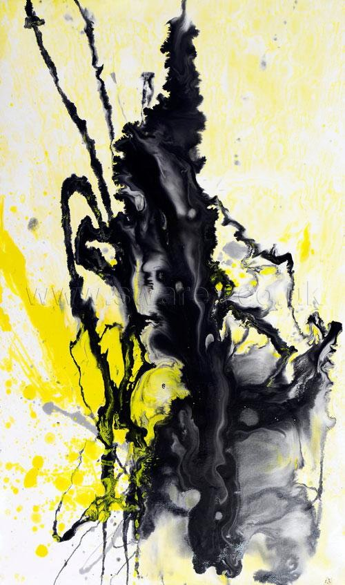 Yellow and black abstract painting