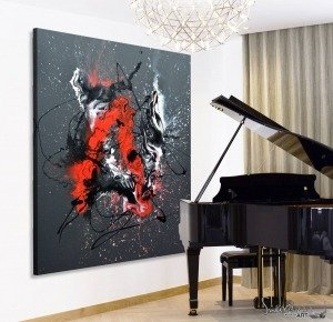 Big red and black abstract painting next to a grand piano