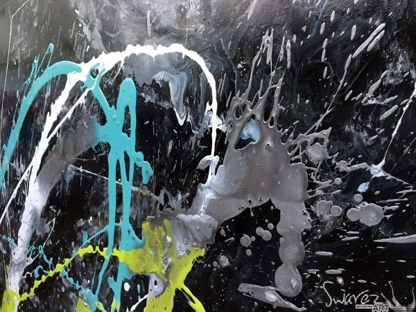 Black lime and green abstract painting (2)