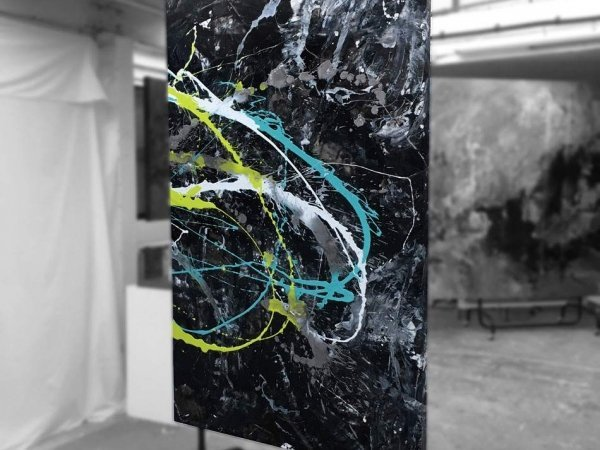 Black lime and green abstract painting (4)