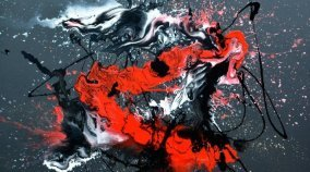 Large red and black art