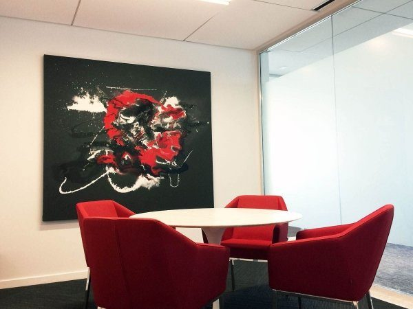 Art hanging in a small meeting room