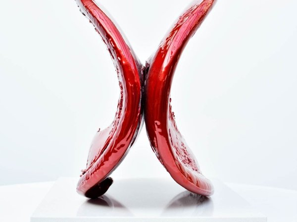 Candy apple red metal sculpture