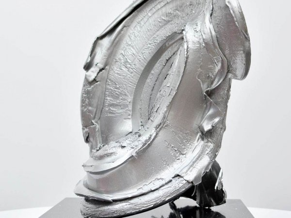 Large table top aluminium sculpture in silver