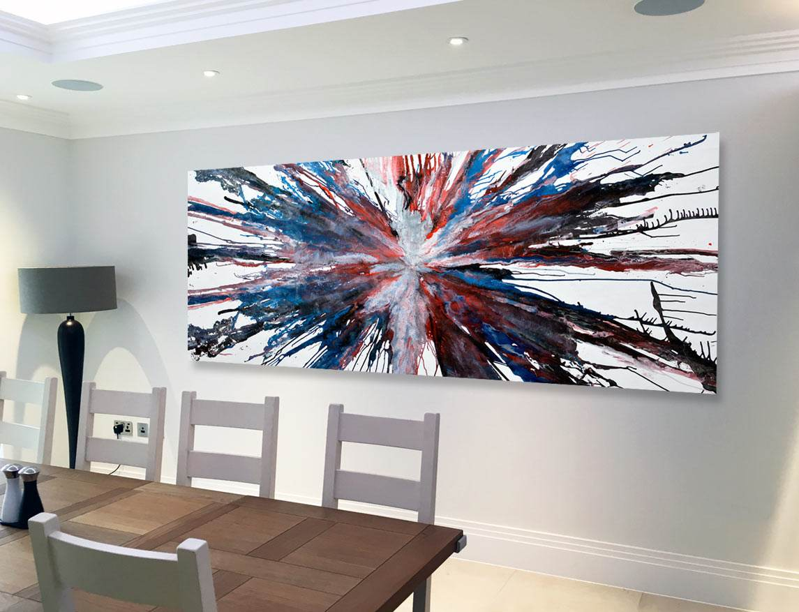 Big painting in a dining room
