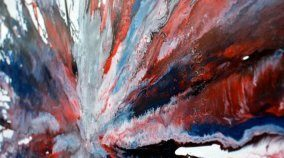 Red white and blue contemporary art painting