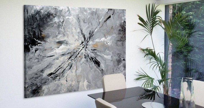 Large grey contemporary painting in a dining room