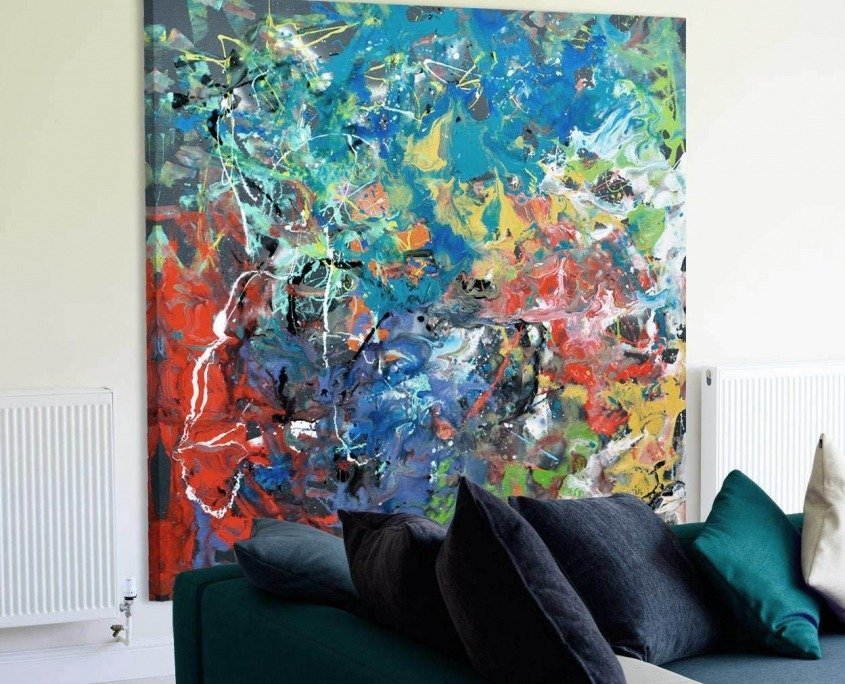 Big square painting in a living room